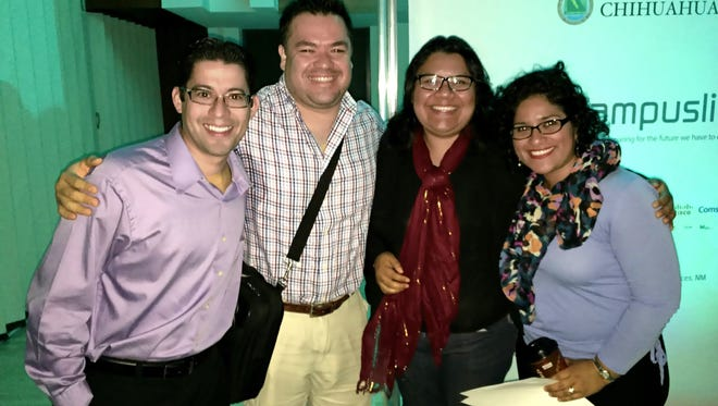 A team of graduate students from the NMSU College of Education's Department of Curriculum and Instruction won a trip to attend a technology conference in Peru next year in last month's CampusLink Idea hack Competiton. Team members, from left, are Francisco Serrano Wall, Armando Altamirano Garcia, Ruth Torres Castillo and Cecilia Palacio-Ribon.