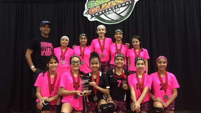 The 12U Diggers volleyball team won the gold division at the Cactus Classic in Tucson on Jan. 16-17 with a record of 8-1, avenging its only loss to Phoenix Livewire by defeating them in the championship game. The team members are: (top row) Coach Jimmy Hill, Robyn Ayala, Danielle Carreon, Anaelena Ramirez, Alexandra Calderon and Bella Luna; (front row) Mila Shukitt, Samantha Garcia, Logan Maxwell, Raeanne Lucero, Daisy Barraza and Audrey Zubiate.