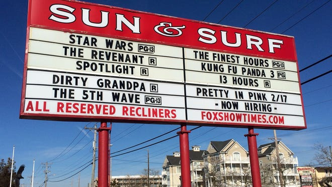 "The marquee at the Fox Sun & Surf 8 Cinemas in Ocean City. The theater plans on showing older movies, such as 1986's ""Pretty in Pink"" mixed in with current releases."