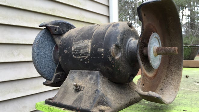 The bench grinder that once belonged to Ted Shockley's paternal grandfather.