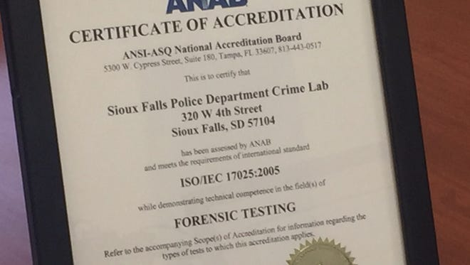 The Sioux Falls Police Department crime lab was awarded a certificate of accreditation in March.