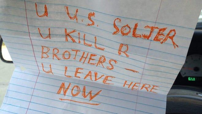 The note left on Tom Keane's van