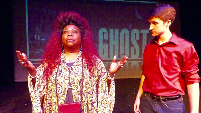 """Brenda Harrison as Oda Mae Brown and Michael Hawes as Sam Wheat in """"Ghost: The Musical,"""" opening May 6 at ShenanArts nTelos Theatre in Staunton. Showtimes include: May 6-8 and 13-15."""