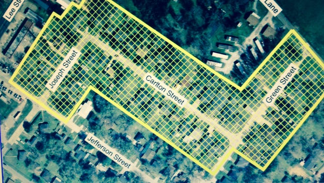 The yellow area outlines the Joseph Street area in Alexandria that is under a water boil advisory.