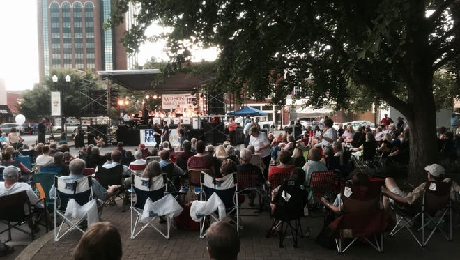 Friday Night Live, free monthly concerts in the summer months on Murfreesboro's Square, always draws a crowd.