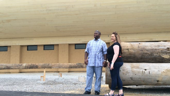 Jimmy and Brittany Butts stand outside of the Ark Encounter.