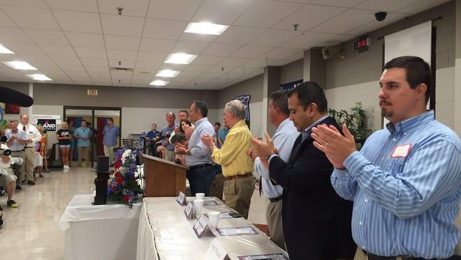 Gov. Matt Bevin spoke Saturday at the Republican party breakfast at Graves County High School.