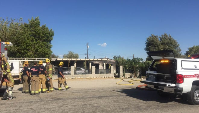 A home in North Palm Springs that caught fire Monday.