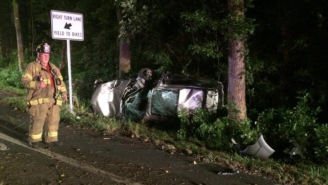 Shortly after midnight on Aug. 16, a tan SUV left the roadway and crashed into several trees, overturning off the shoulder. Fire responders found no occupants anywhere near the scene.