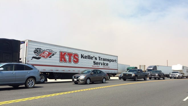 Traffic comes to a halt on Highway 395 in Hesperia. Drivers were stranded after Interstate 15 was shut down through the Cajon Pass due to the Blue Cut Fire.