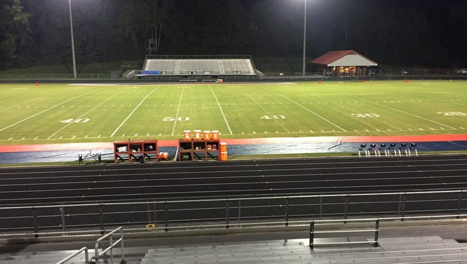 The empty stadium at Creek Wood High School during the time when the Red Hawks game was scheduled to be played. The game was delay and ultimately cancelled due to weather.