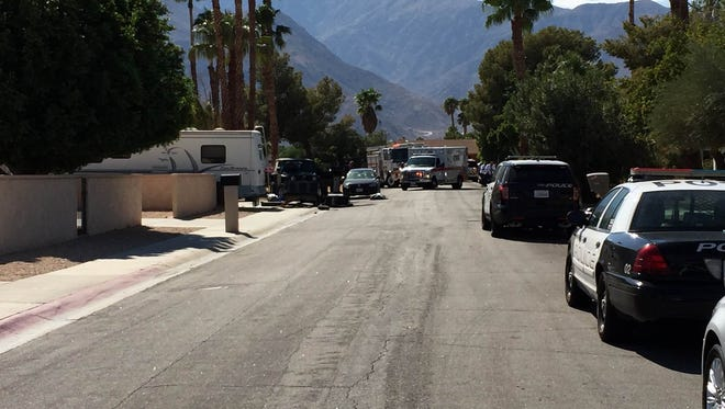 Police presence outside a Palm Springs house on Monday, Aug. 29, as officers investigated an assault and discovered a hash oil lab.