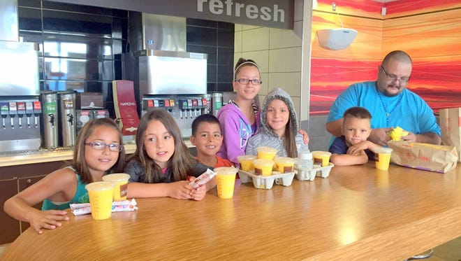 Students took advantage of the free breakfast that McDonald's was offering Wednesday morning in Silver City. Not in order were Byron Maldonado, first grade; Elysa Maldonado fourth grade, Kaijah Maldonado, second grade; Elvisa Maldonado, eighth grade; Cierra Torres, fifth grade; and Anthony Torres, third grade.