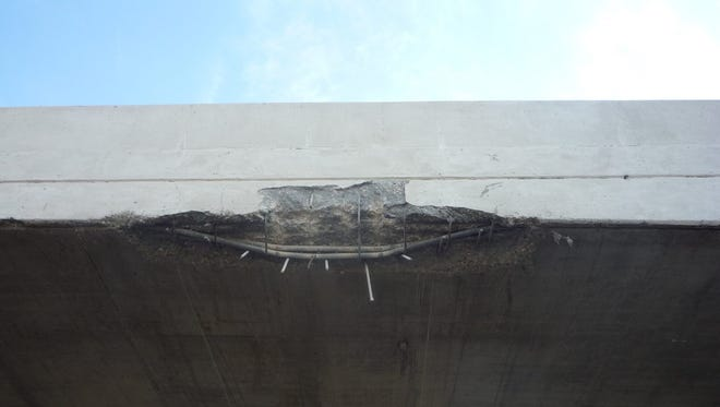 An over sized semi truck struck a bridge Friday, Sept. 23 and damaged it.