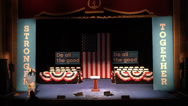 Set-up begins inside The Sunrise Theatre for Hillary Clinton's visit.