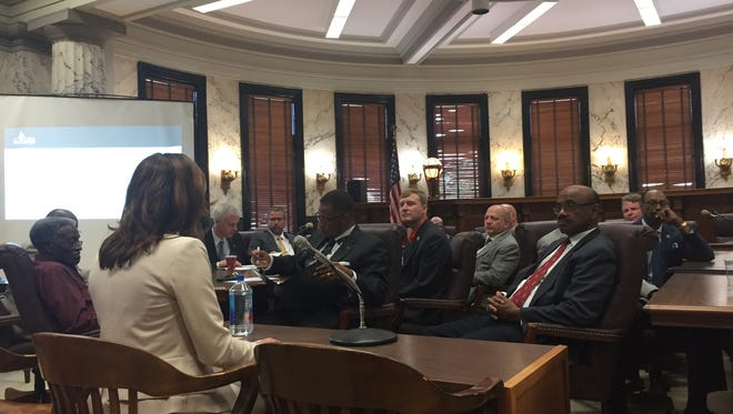 Ed Build CEO, Rebecca Sibilia, addresses a joint education committee Thursday. Sibila's firm has been hired to reevaluate the state's MAEP formula.