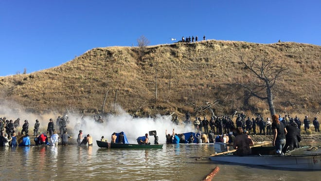 Erin Schrode, 25, Calif., is at Standing Rock in support of the people protesting and to document the protest of the Dakota Access Pipeline. This photo was taken Nov.2, 2016, at Cantapeta Creek.