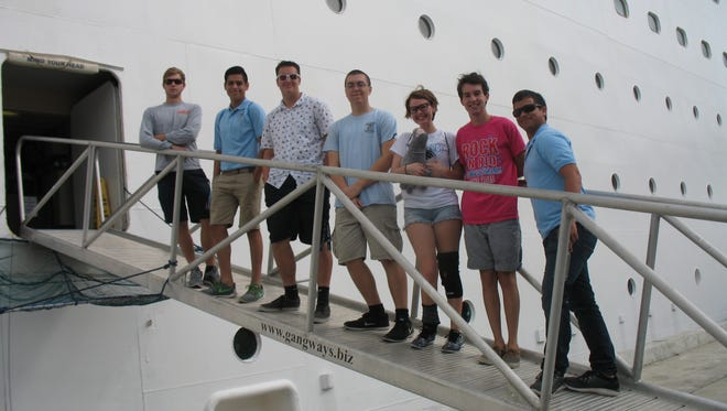 Students from Rockledge High School tour a Majesty of the Seas ship at Port Canaveral.