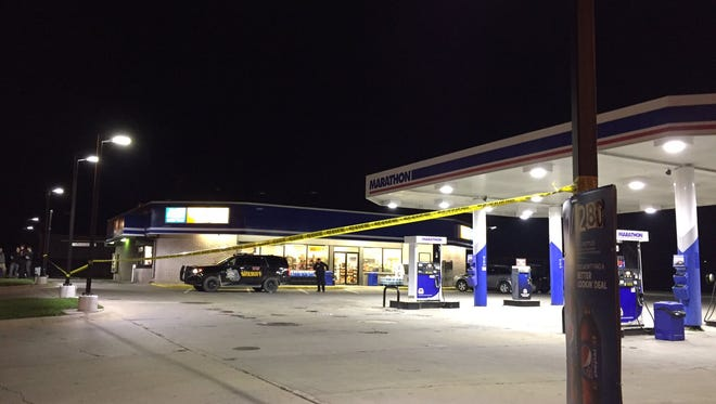 One person is in custody following an armed robbery at a Marine City gas station Sunday.