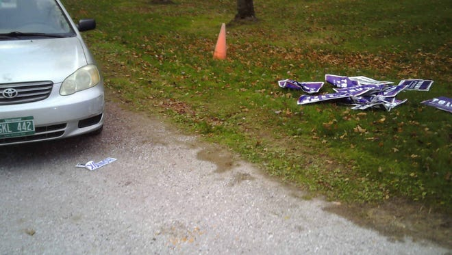 Trump signs were ripped down in Williston on Sunday, Nov 6, 2016