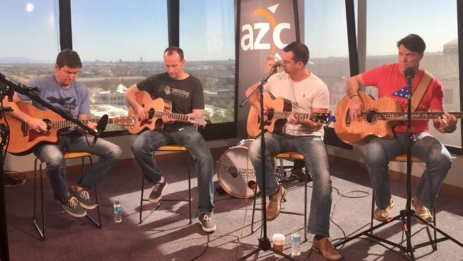Members of Operation Encore, a veterans music project, play at the azcentral.com studio in Phoenix on Veterans Day, Nov. 11, 2016.