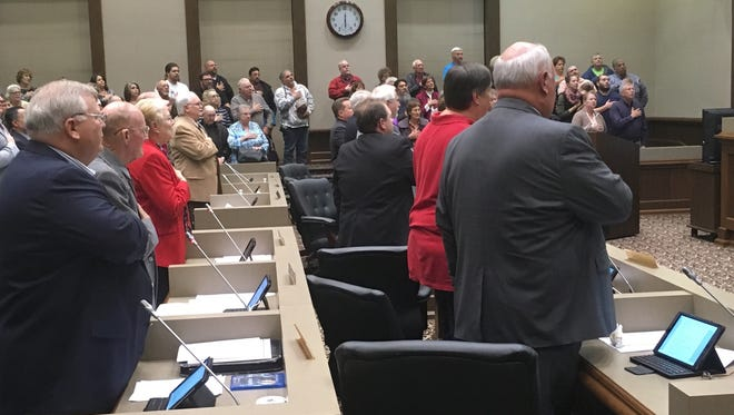 Montgomery County commissioners were greeted Monday night by a large crowd of onlookers, most of whom were there to show opposition to a proposed rural whiskey distillery.