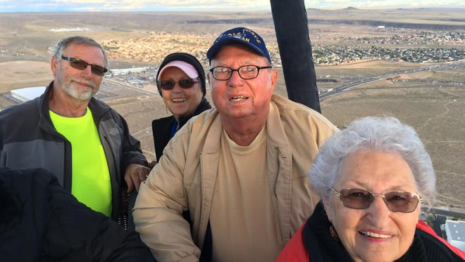 Gregg, Lana, Leo and Barbara Froh take their maiden hot air balloon flight in Albuquerque, New Mexico.
