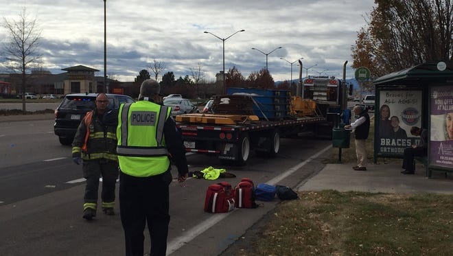 A woman was seriously injured in a crash involving a semitrailer Tuesday afternoon in southeast Fort Collins.
