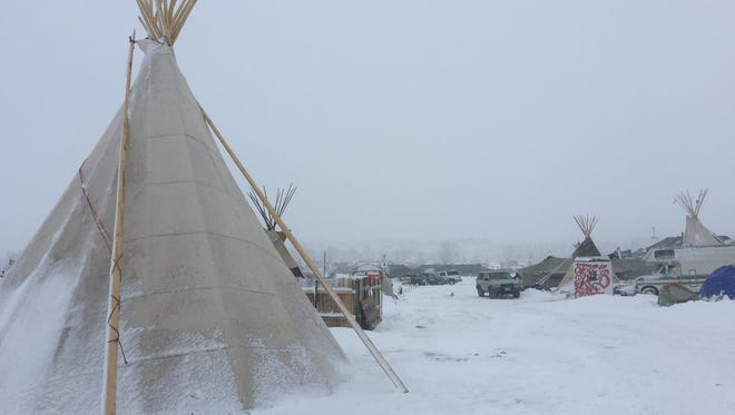Winter conditions at Standing Rock camp in North Dakota