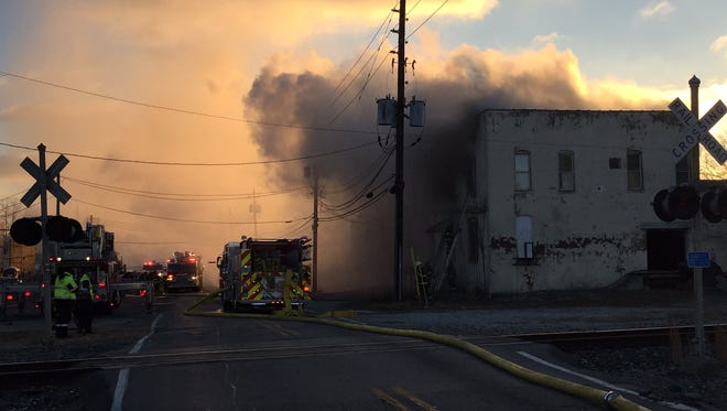 Indianapolis firefighters are battling a blaze at a vacant warehouse on the south side near Sumner and Shelby streets.