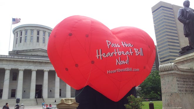 This photo taken June 5, 2012, outside the statehouse in Columbus, Ohio, shows a large balloon in support of the Heartbeat Bill. The bill was delayed on Thursday.