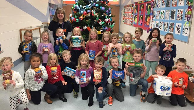 Mrs. Weidner's kindergarten classroom at O.H. Schultz Elementary School in Mishicot collected the most items in the school's canned food drive this December.