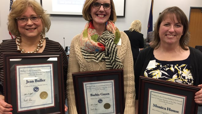 Jean Buller (from left), Barbie Green and Monica House were named Walled Lake District Teachers of the Year for 2016-17.