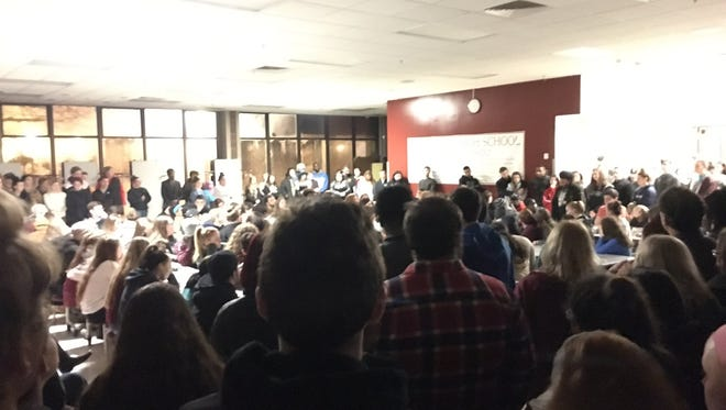Students, faculty and community members packed the Concord High School cafeteria Sunday to remember teacher Thom LaBarbera, who passed away over the weekend.