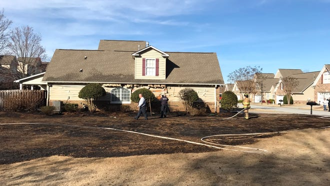 Fire crews responded to a brush fire in a neighborhood off Butler Springs Road in Greenville County Friday afternoon.