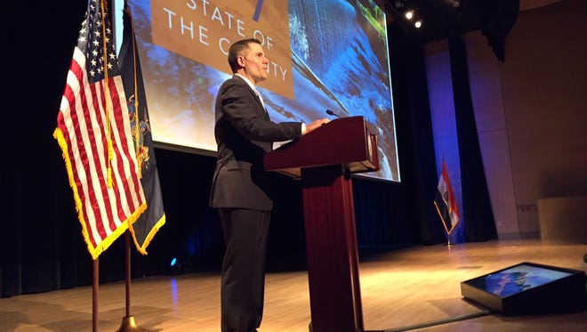 Dutchess County Executive Marc Molinaro delivers his State of the County address at the Culinary Institute of America on Thursday.
