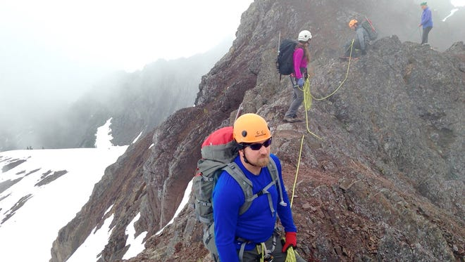 Olympic College students practice mountaineering during a field trip in 2015.