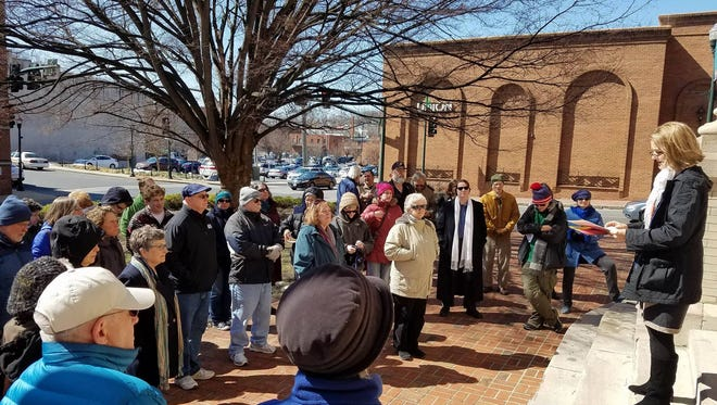 Michele Edwards announces her plan to run against Del. Dickie Bell, R-Staunton, for his District 20 seat in the House of Delegates outside the Augusta County Courthouse in Staunton, Va., on Thursday, March 16, 2017.