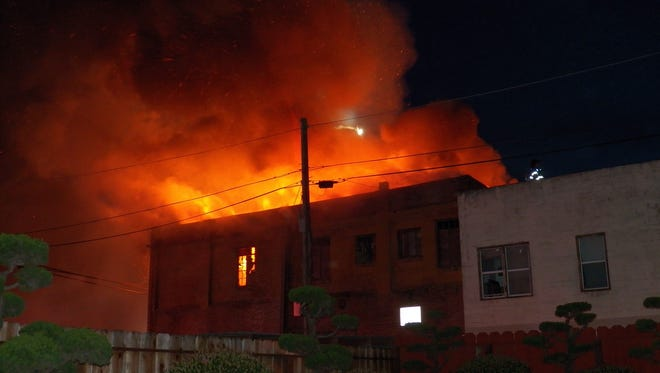 The old Republic Hotel on Soledad Street in Salinas burns down on Saturday night, March 18th, 2017.