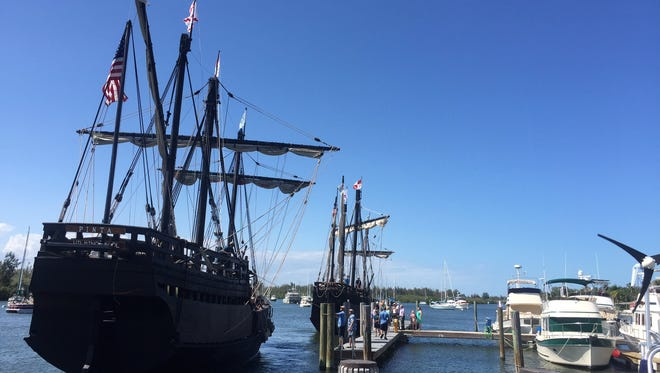 The Nina and Pinta replicas are docked at the Vero Beach City Marina.