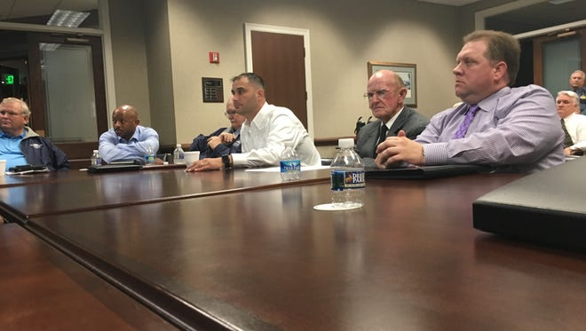 Some Montgomery County commissioners shown during Monday's roundtable discussion include, from left, Robert Nichols, Garland Johnson, Jason Hodges, Joe Creek and Joe Weyant.