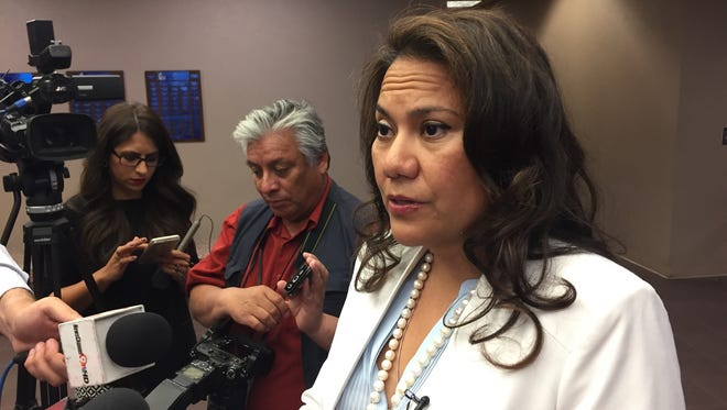 """County Judge Veronica Escobar addresses the media on new law targeting """"Sanctuary cities""""."""