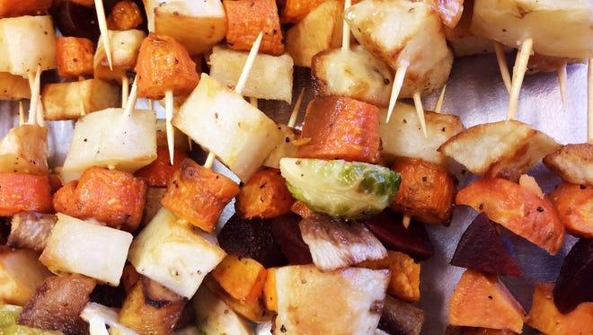 Root vegetables skewers from The Juniper Spoon.