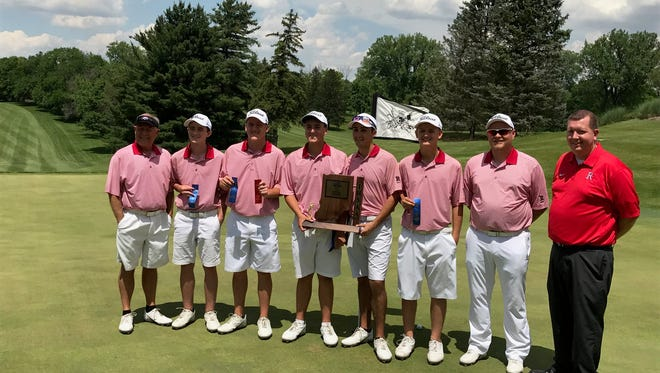Richmond's boys golf team shot 325 to win a state-best 35th sectional championship Monday at Forest Hills.