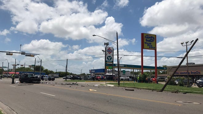 Corpus Christi Police Department officers are investigating a wreck Wednesday that sent at least one man to the hospital.