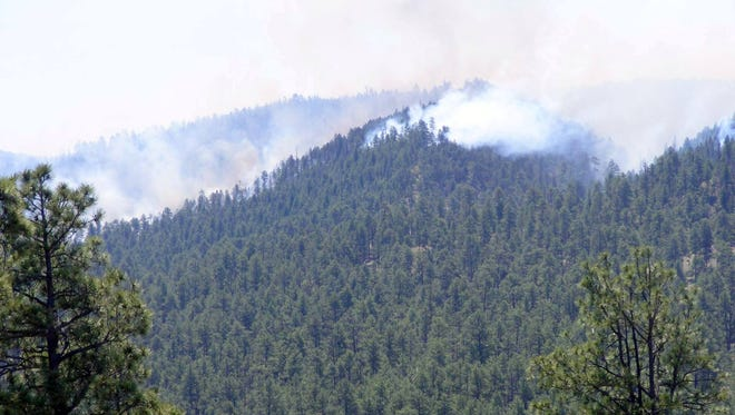 A picture of the Round Fire which is burning in the Aldo Leopold Wilderness in the Black Range Ranger District. Five wildland fire modules, four engines, two EMT's, one water tender and fire personnel, totaling 96 are fighting this fire.