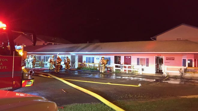 Sixteen residents were displaced Friday after fire swept through a portion of the Grandview Inn on Grand River Avenue in Genoa Township.
