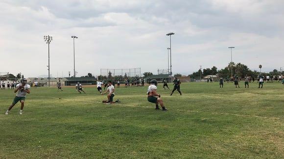 Dinuba quarterback Josh Magana drops back to pass during