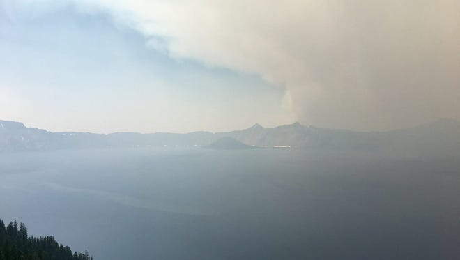 Smoke covers Crater Lake National Park on Aug. 3.