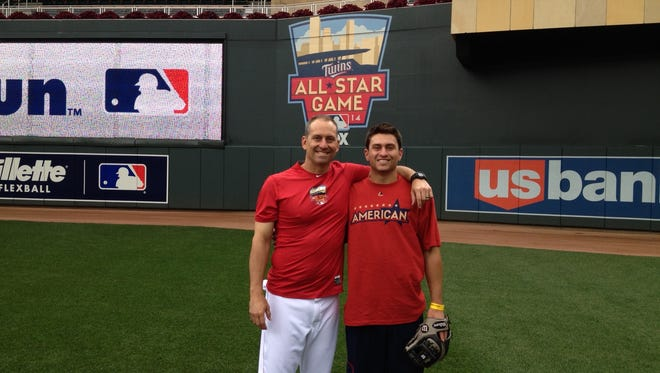 Torey Lovullo and son Nick at the MLB All-Star Game in Minnesota in 2014.